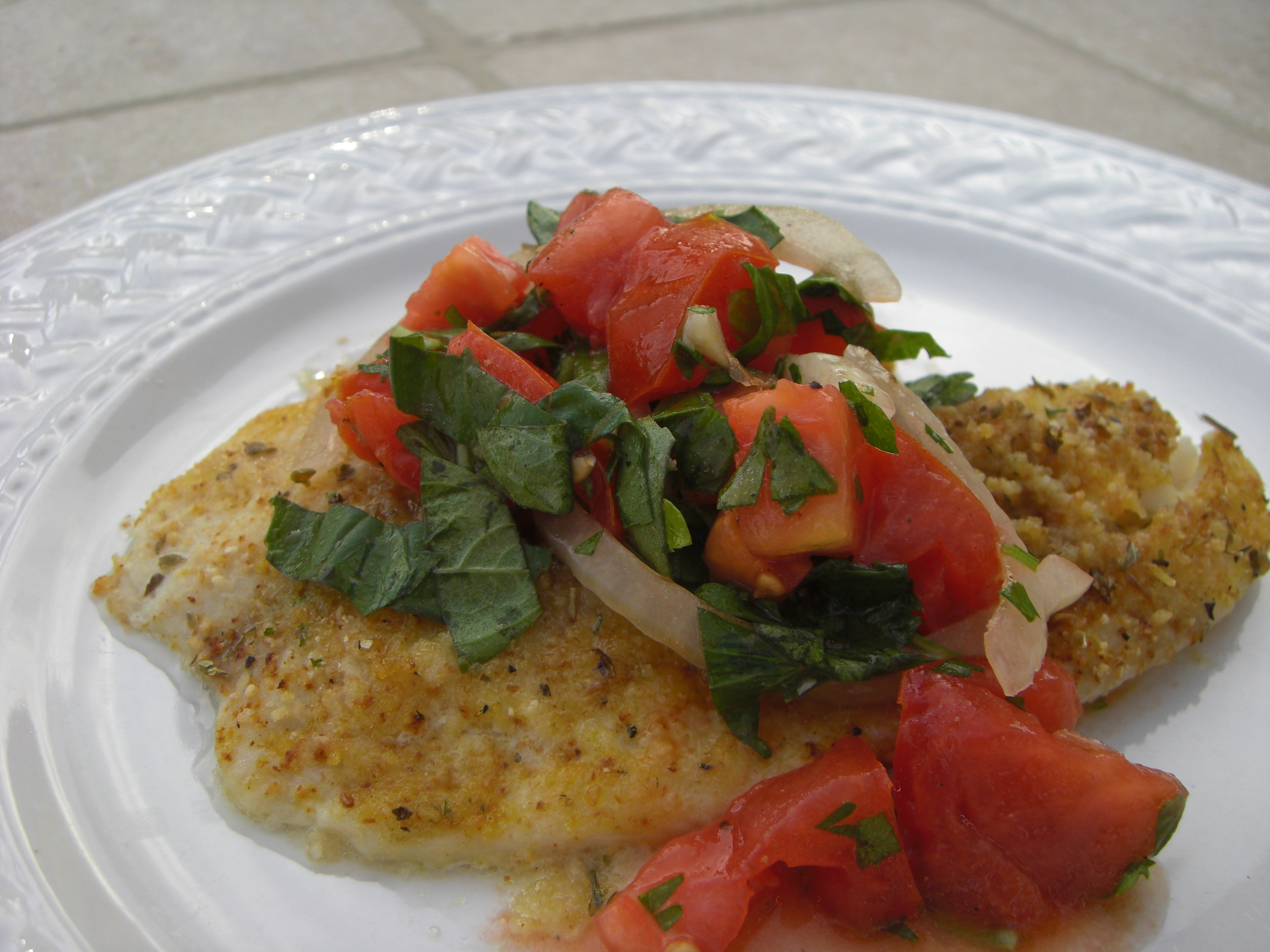 Oven baked tilapia with summer tomato salad for How to bake tilapia fish