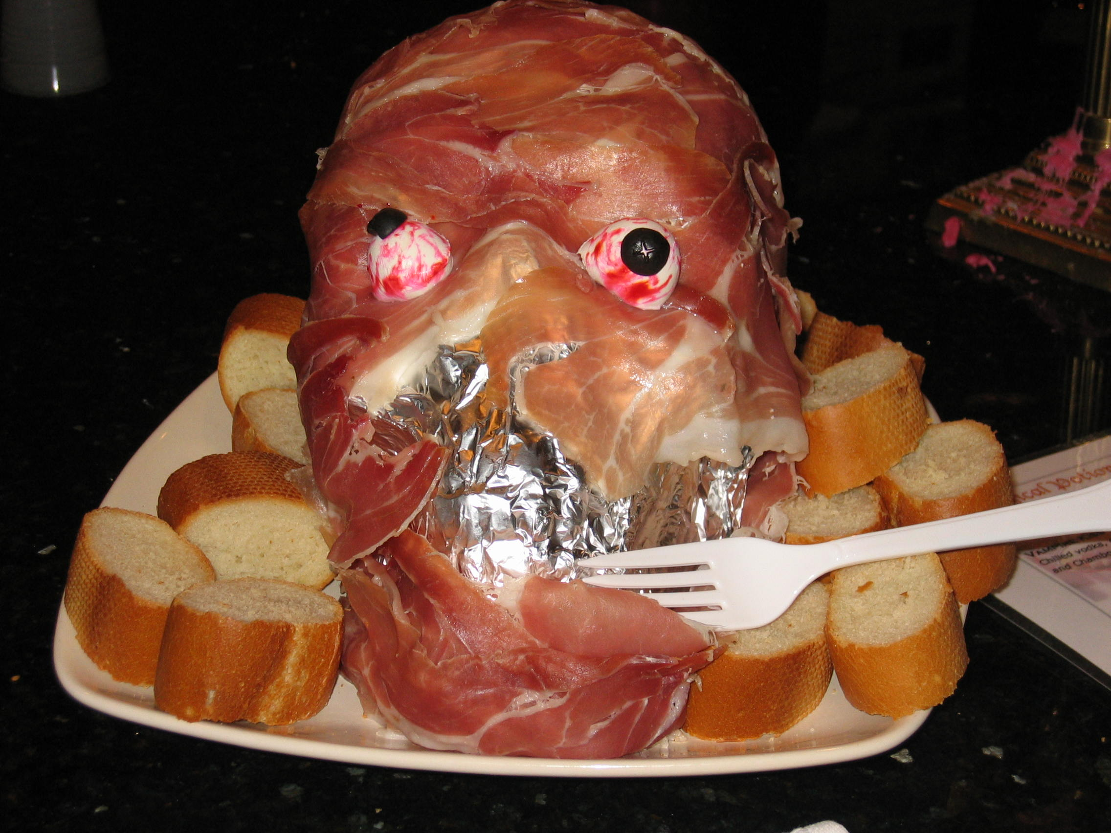 Fun Halloween Party Food-Prosciutto Ham Head & Pillsbury Spooky ...