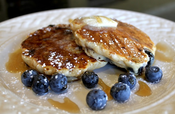 John's Pecan Blueberry Oatmeal Pancakes
