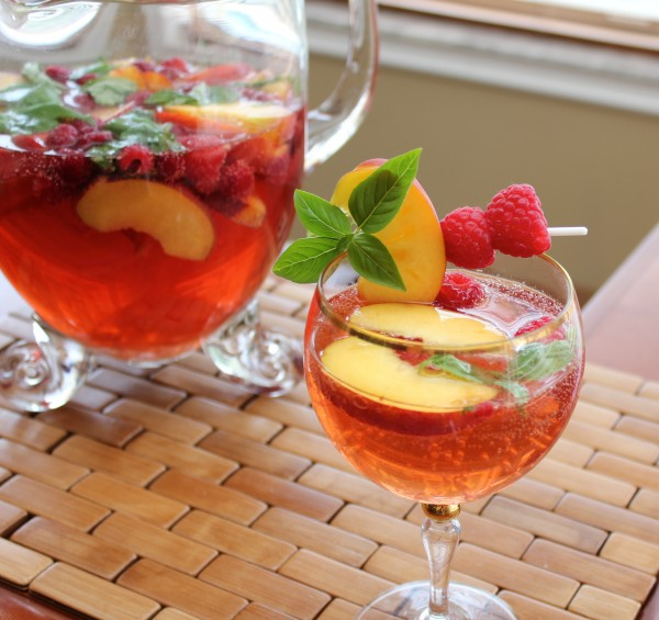 Post image for White Summer Sangria with Basil, Peach and Raspberry