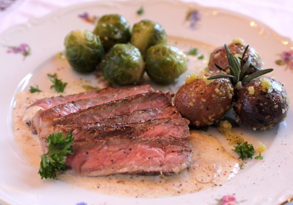 Post image for Valentine's Day Dinner for Two – Pan Seared Rib Eye Steak with Sherry Cream Sauce